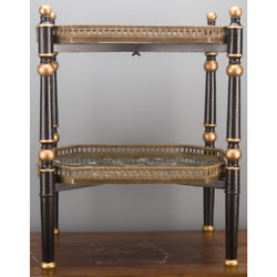 New Porcelain Tall Stacked Tray Table On Black Wood Stand Bronze Accents Floral