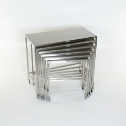 Mcm-560 Set Of 6 Stainless Steel Nesting Tables W/3 Ball Bearing Casters