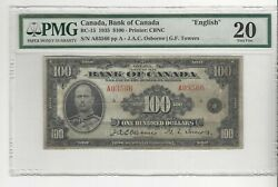 1935 Osb/tow Canada 100 Note Pmg Vf-20 Sn A03566 English Bc-15