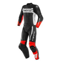 Leather Suit Divisible Motorcycle Dainese Mistel 2pcs 46 Black White Red 2