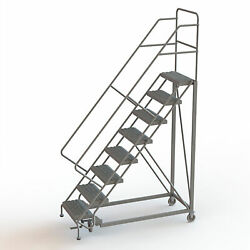 8-Step Steel Rolling Ladder w/Serrated Steps Gry 80inH Top Step 24in 450lb Cap
