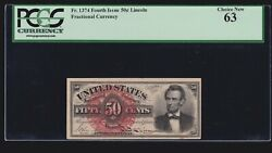 Us 50c Lincoln Fractional W/ Seal Plate 20 Fr 1374 Pcgs 63 Ch Cu -001