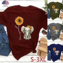 Women Casual T Shirts Girls Short Sleeves Cute Elephant Sunflower Printed Tees