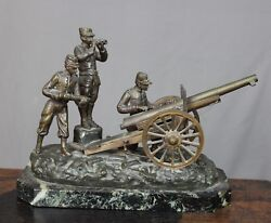 Georges Omerth Style Brass Bronze Field Canon And Soldier Group Chavelot France