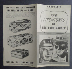 1940and039s Merita Bread The Life Of Tonto By Lone Ranger Chapter 4