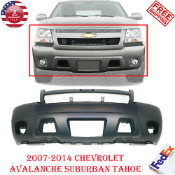 Front Bumper Primed W/fog Holes Fits 2007-2014 Chevy Avalanche Suburban Tahoe