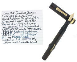 1924 CONKLIN ENDURA SENIOR LONG BLACK HR CRESCENT FILLER FOUNTAIN PEN RESTORED