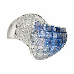 6.65 Carat Blue White Invisible Sapphire Diamond Gold Cocktail Ring