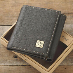 Genuine Leather Wallet John 3:16 Three Crosses Trifold Brown - Great Gift!