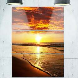 Vibrant Yellow Sun and Calm Waves - Seashore Metal Wall At - Yellow 28 in. wide