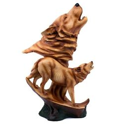 Wolf Wolves Howling Faux Carved Wood Look Figurine 15 High Resin Statue New