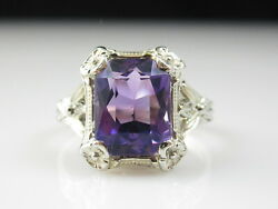 Amethyst Ring 18K White Gold Vintage Estate Retro Period Art Deco Jewelry Size 6