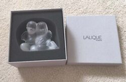515 Authentic Lalique 2 Angelots Twins Angel Crystal Decor Figurine Nib 1209300