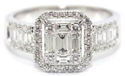 Estate 1.12ct Diamond 18kt White Gold Round And Baguette Invisible Engagement Ring
