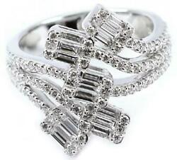 Large 1.12ct Diamond 18kt White Gold Round And Baguette Invisible Anniversary Ring
