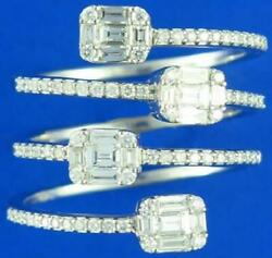 Large 1.05ct Diamond 18k White Gold 3d Multi Row Round And Baguette Invisible Ring