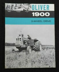1963 The Oliver 1900 2-wheel Drive Tractor Specifications Brochure Very Nice