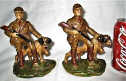Antique Cast Iron 423 Hubley Toy Usa Hunter Man And Decoy Dog Art Statue Bookends