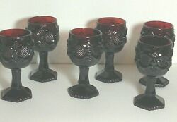 Avon Deep Ruby Red Cape Cod Cocktails Bar Wine Collections - Qty Of 8