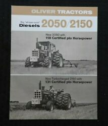 1968 New Oliver 2050 And 2150 Turbocharged Diesel Tractor Catalog Brochure Nice