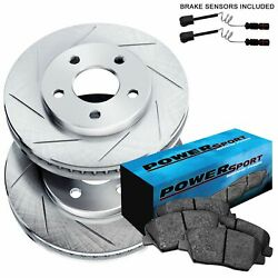 Fit Mercedes-Benz 300SE, 300SD, S350 Front  Slotted Brake Rotors+Ceramic Pads