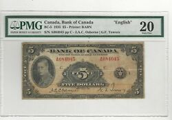 1935 Bank Of Can Bc-5 5 Osb/tow Sn A084045 English Pmg Vf-20