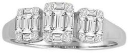 .50ct Diamond 18k White Gold Round And Baguette Past Present Future Invisible Ring