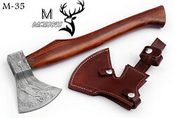 16 Custom Hand Forged Damascus Steel Axe Hatchets With Rose Wood Handle M - 35