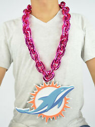 New Nfl Miami Dolphins Pink Big Chain Necklace Foam Magnet -2 In 1