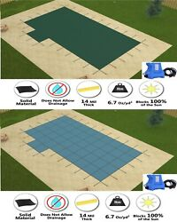 Gli Valuex Solid Swimming Pool Winter Safety Cover W/ Left 2' Offset Step And Pump