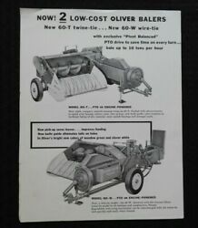 Genuine 1958 The Oliver Model 60-t 60-w Wire And Twine Baler Sales Brochure Nice