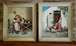 E. Esposito Enrico Italy Vintage Italian Peasant Chickens Farm Oil Paintings 23
