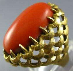 Antique Large Aaa Coral 18k Yellow Gold 3d Classic Oval Love Knot Fun Ring 26884