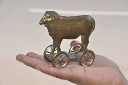 Early Vintage French Golden Penny Sheep On Platform Tin Toy , France