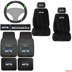 9pc Nfl Seattle Seahawks Car Truck Seat Covers Floor Mats And Steering Wheel Cover