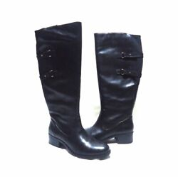 Isaac Mizrahi Live Angela Black Buckle Accent Side Zip Knee High Boots Size 7W