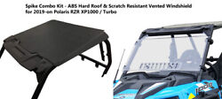 Spike Abs Roof And Hard Coat Full Vented Windshield For 2019 Polaris Rzr 900 1000