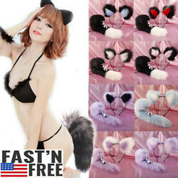Fox Faux Tail Plug Butt Stopper Anal Slicone Cat ears Adult Toy Game for Couples