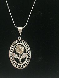 Vtg Estate 925 Sterling Silver Italy Twisted Serpentine 20 Rose Chain Necklace