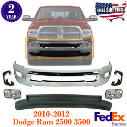 Front Bumper Chrome Valance + Fogs And Bracket For 10-2012 Dodge Ram 2500 3500 4wd