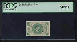 Us 3c Fractional Currency Error W/ Inverted Back Fr 1226 Pcgs 64ppq V Ch Cu