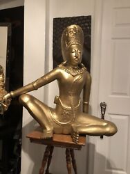 """Antique/ Vintage Indra 15th Century, Nepal Wood Carved Statue """"local Pick Up"""""""