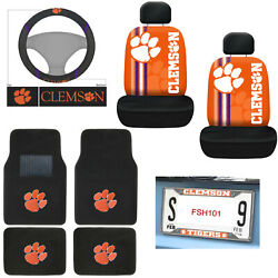 New 10pc Ncaa Clemson Tigers Floor Mats Seat Covers Steering Wheel Cover Set