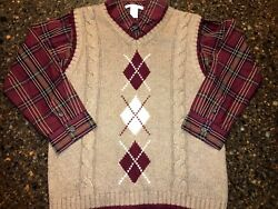 Janie and Jack ~ TARTAN TERRIER ~ Sweater Vest (8) with Shirt (7) ~ EUC