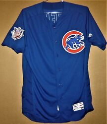 Chicago Cubs Mike Freeman 15 Blue Button-down Mlb Majestic Size 46 Jersey