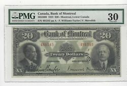 1923 Bank Of Montreal 20 Note Pcgsvf-30sn 491545 Large Note