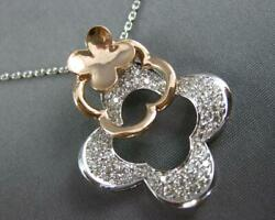 Large .78ct Diamond 14kt White And Rose Gold 3d 4 Leaf Clover By The Yard Necklace