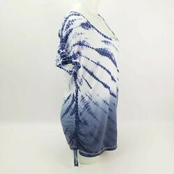 Kiwi Kate Large Womens Blouse Short Sleeves Scoop Neck Lace Up Top Blue Tie Dye $13.30