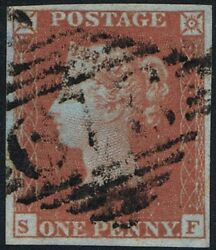 1841 1d Red Pl 176 SF 4m Superb Used Ireland RARE Plate with Cert. Cat £2900.00