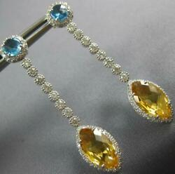 Large 6.20ct Diamond And Aaa Blue Topaz And Citrine 18kt White Gold Hanging Earrings